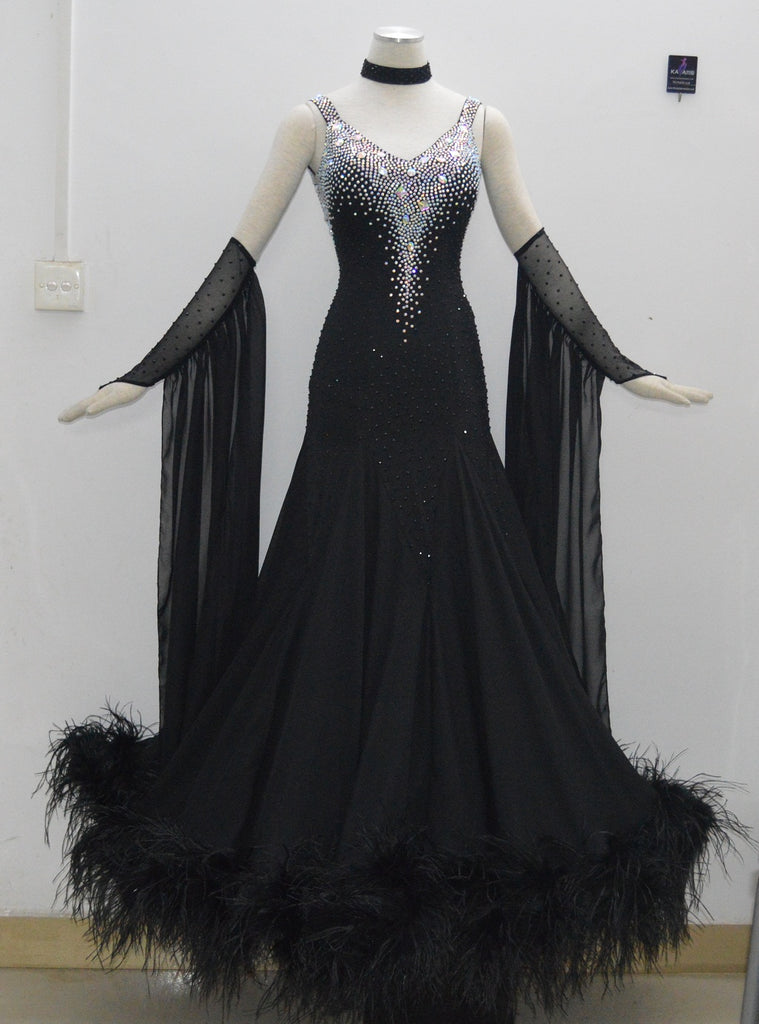 Fantastic Feathers & Floats Black International Standard Ballroom Dance Dress