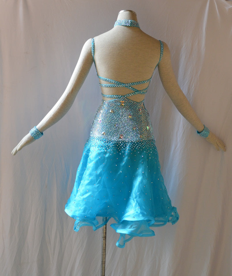 Powder Blue Sweetheart Neck Latin & Rhythm Ballroom Dance Dress