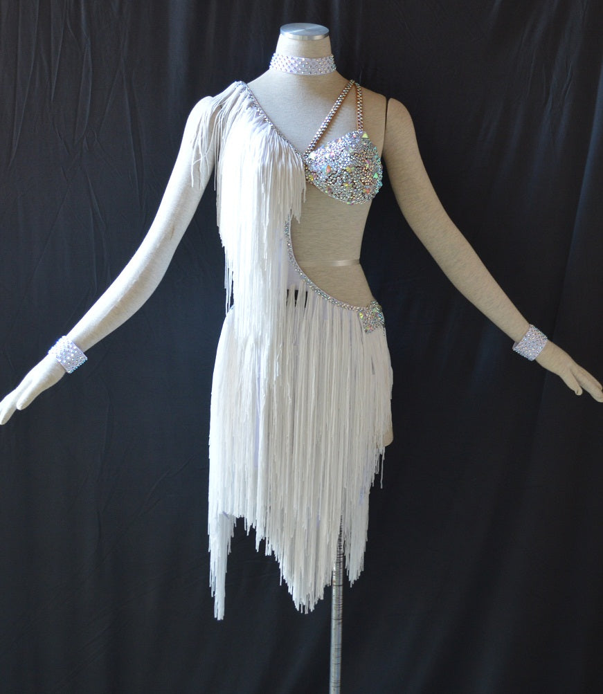 Open Side Rhinestone Fringe Rhythm & Latin Ballroom Dance Dress