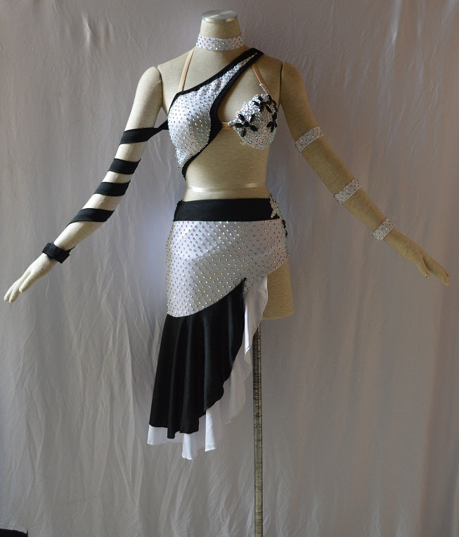 Black and White Asymmetric Rhythm & Latin Ballroom Dance Dress