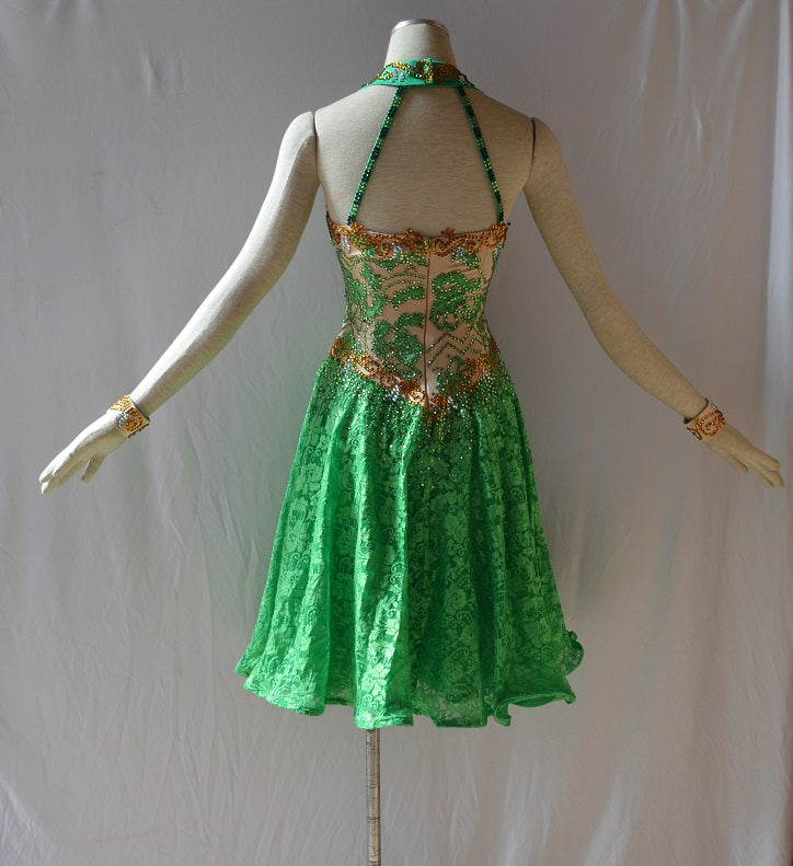 Emerald Green and Gold Halter Neck Rhythm or Latin Ballroom Dance Dress