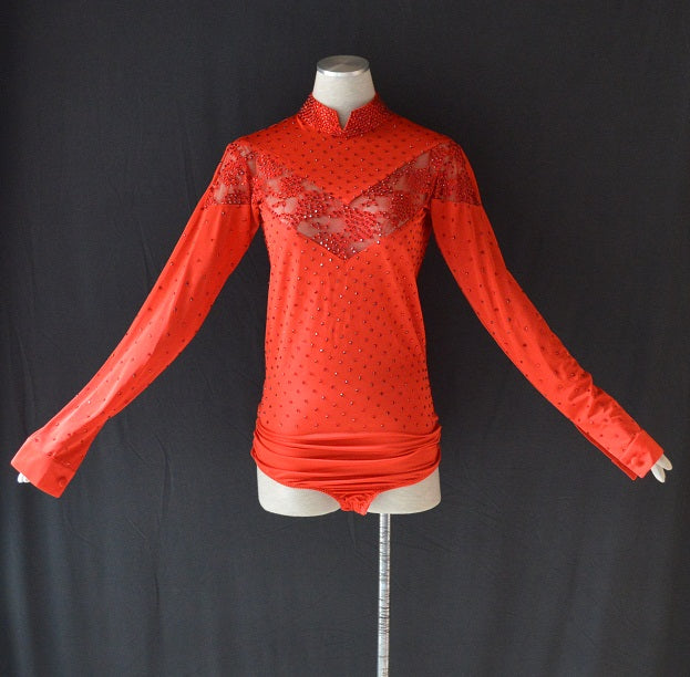 Hot Red Mandarin Collar Men's Rhythm or Latin Ballroom Dance Shirt