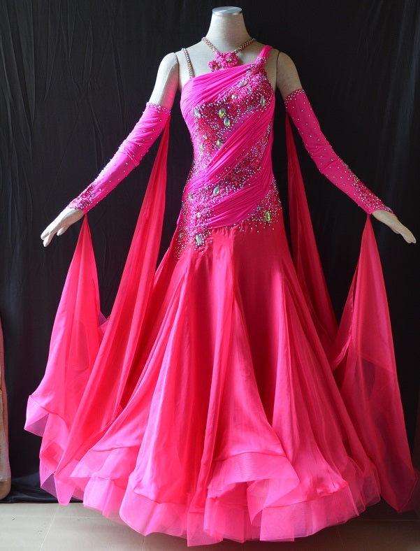 Vibrant Pink w/Rhinestones International Standard Ballroom Dance Dress
