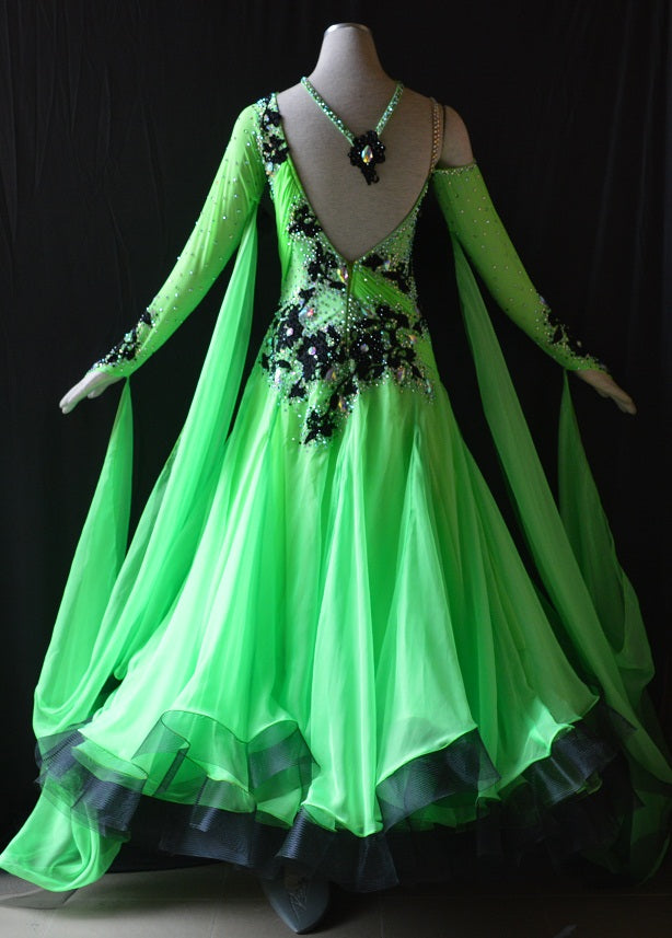 Meadow Green & Black International Standard Ballroom Dance Dress