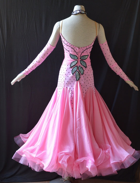 Pink & Black Floral & Rhinestone Detail American Smooth Ballroom Dance Dress