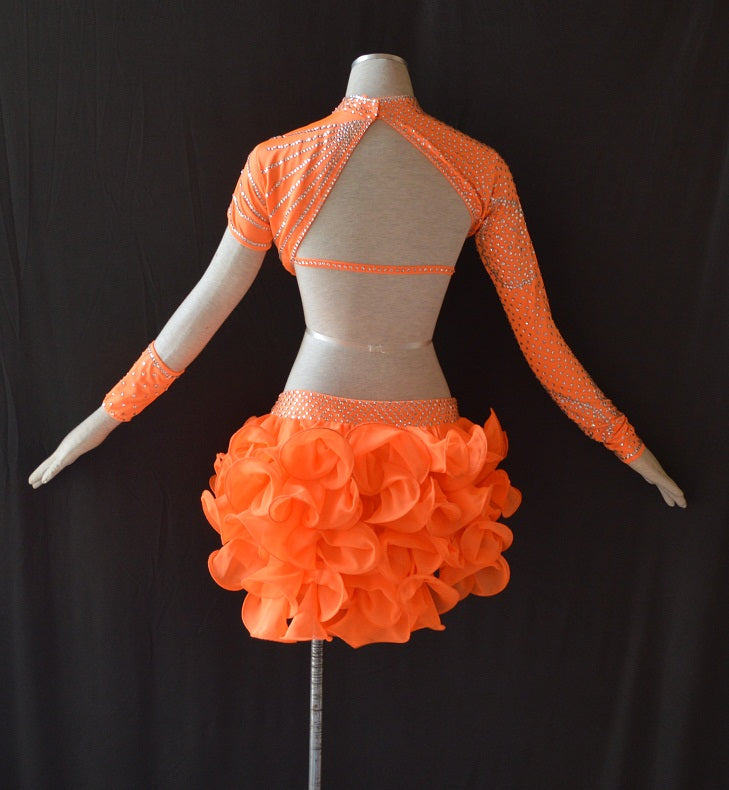 Bright Orange Ruffled Rhythm or Latin Ballroom Dance Dress