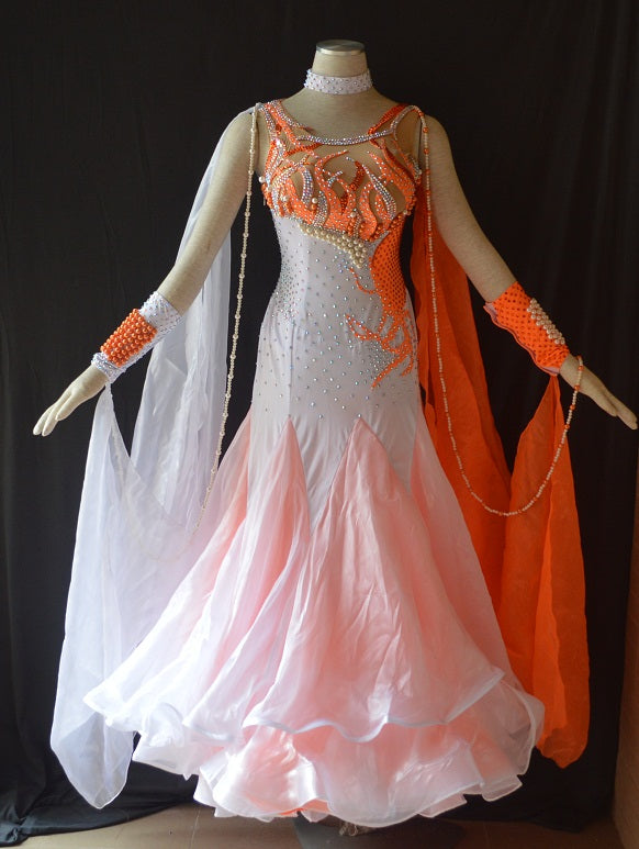 "Orange & White ""Flames"" International Standard Ballroom Dance Dress"