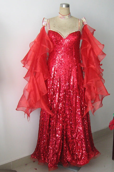 Spicy Red American Smooth or International Standard Ballroom Dance Dress