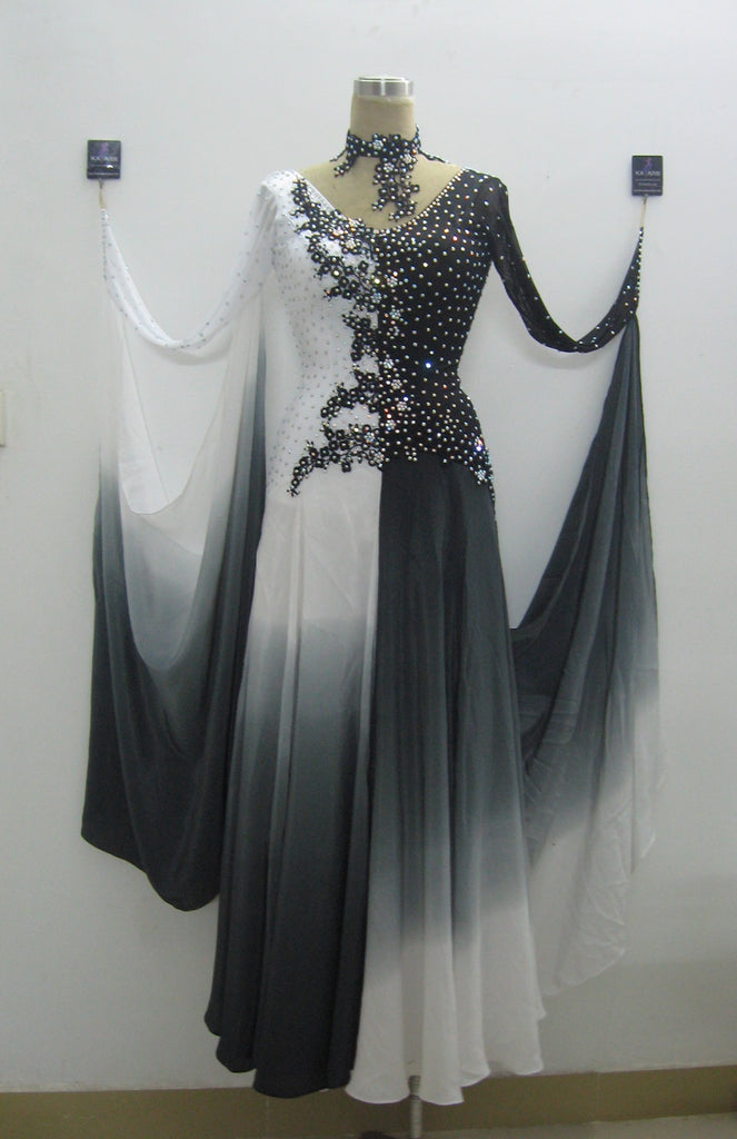 Ombre Black & White International Standard Ballroom Dance Dress