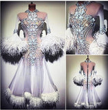White Feather Accent Ballroom Dance Dress