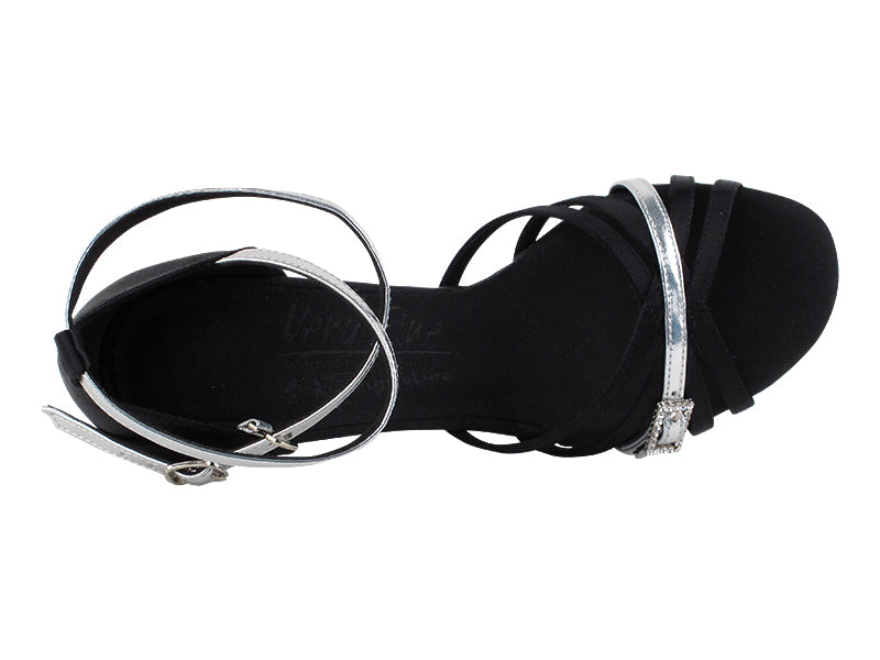 Signature Series Black Satin & Silver Trim Dance Sandals