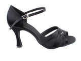 Sera Series Black Satin & Black Mesh Dance Sandals