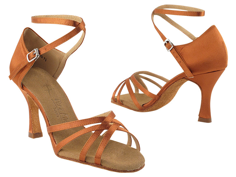 Sera Series Dark Tan Satin Dance Sandal