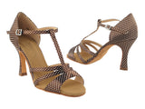 Sera Series Coffee & White Dots Satin Dance Sandals