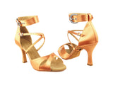 Sera Series Tan Satin Dance Sandal