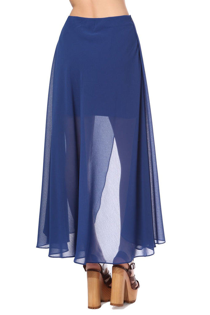Blue Long Overlay Wrap Skirt