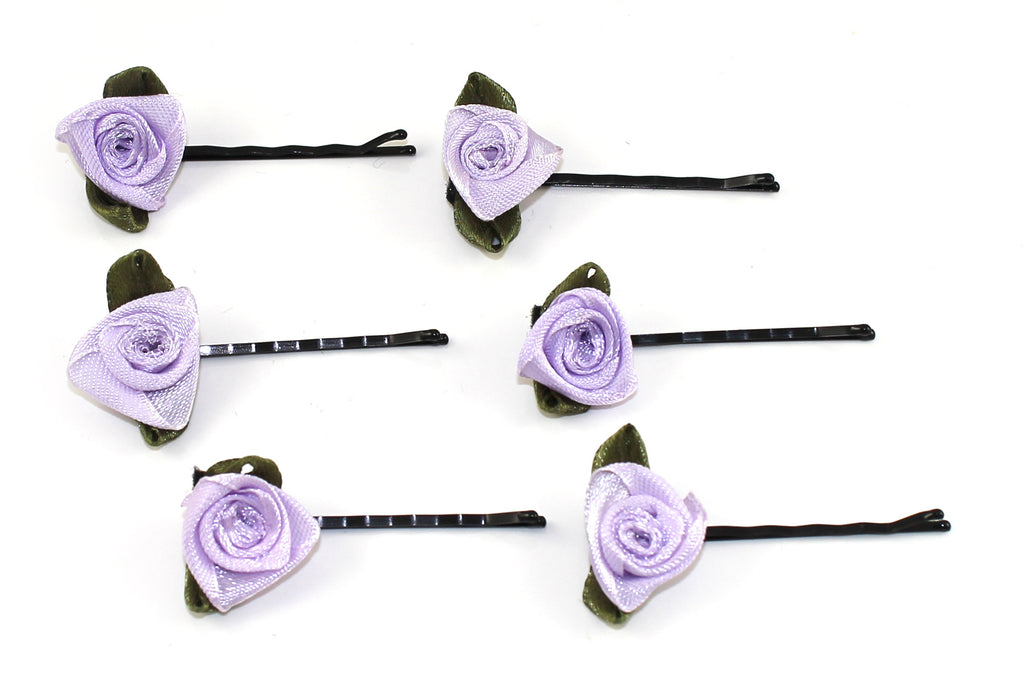 Rosebud Hair Grips- Red OR Lavender