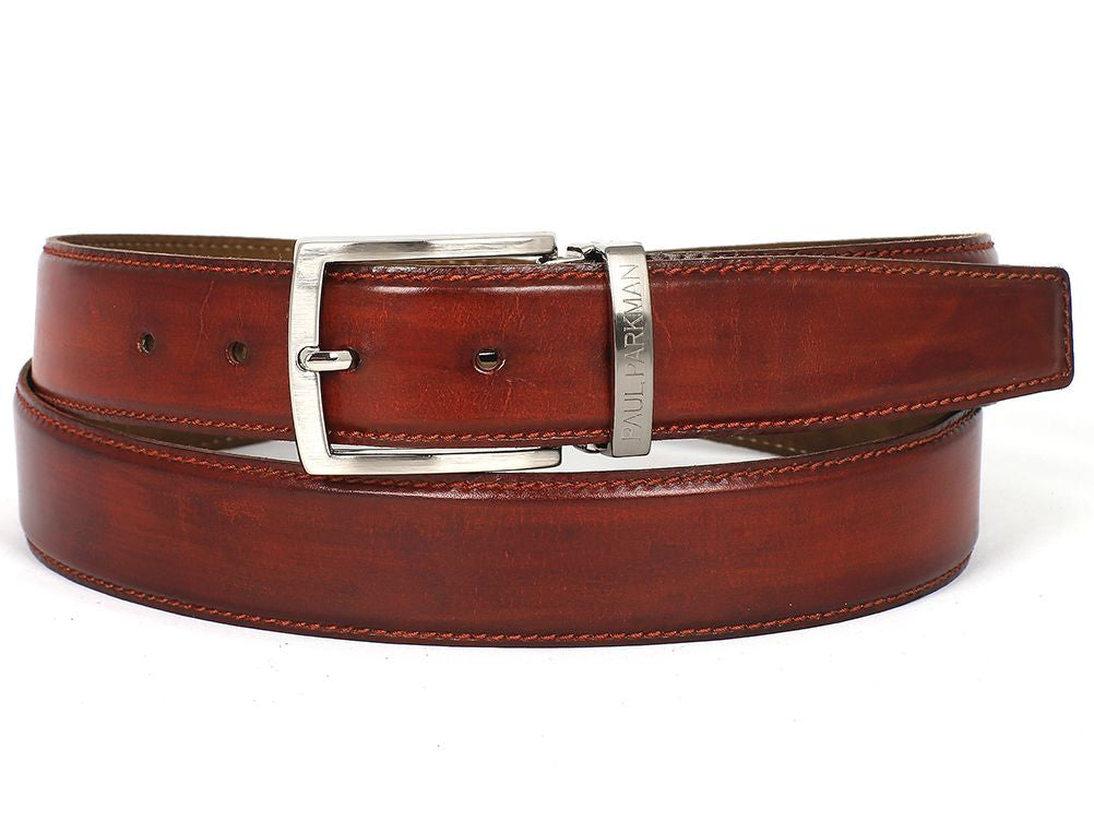 Hand-Painted Reddish Brown Leather Belt by Paul Parkman