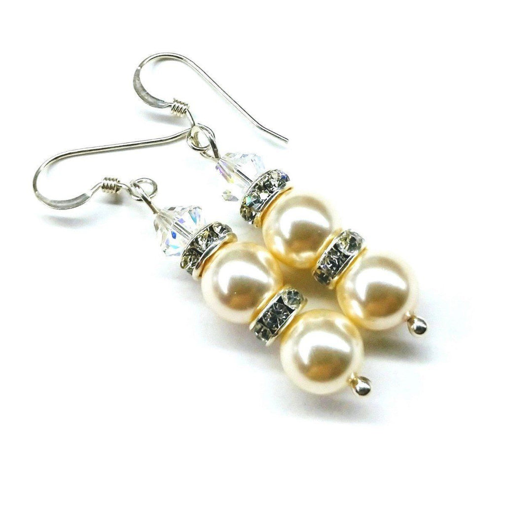 Sterling Silver Stacked Swarovski Crystal and Pearl Earrings