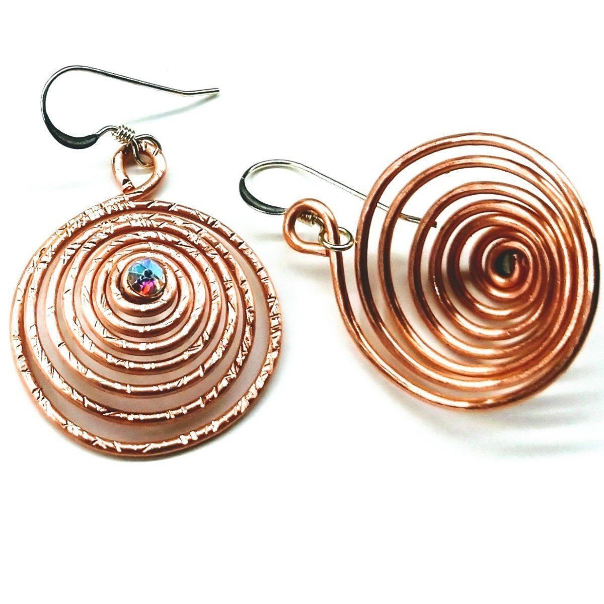 Copper Swarovski Crystal Spiral Hoop  Earrings