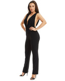 Black V-Neck Jumpsuit Open Back Jumpsuit