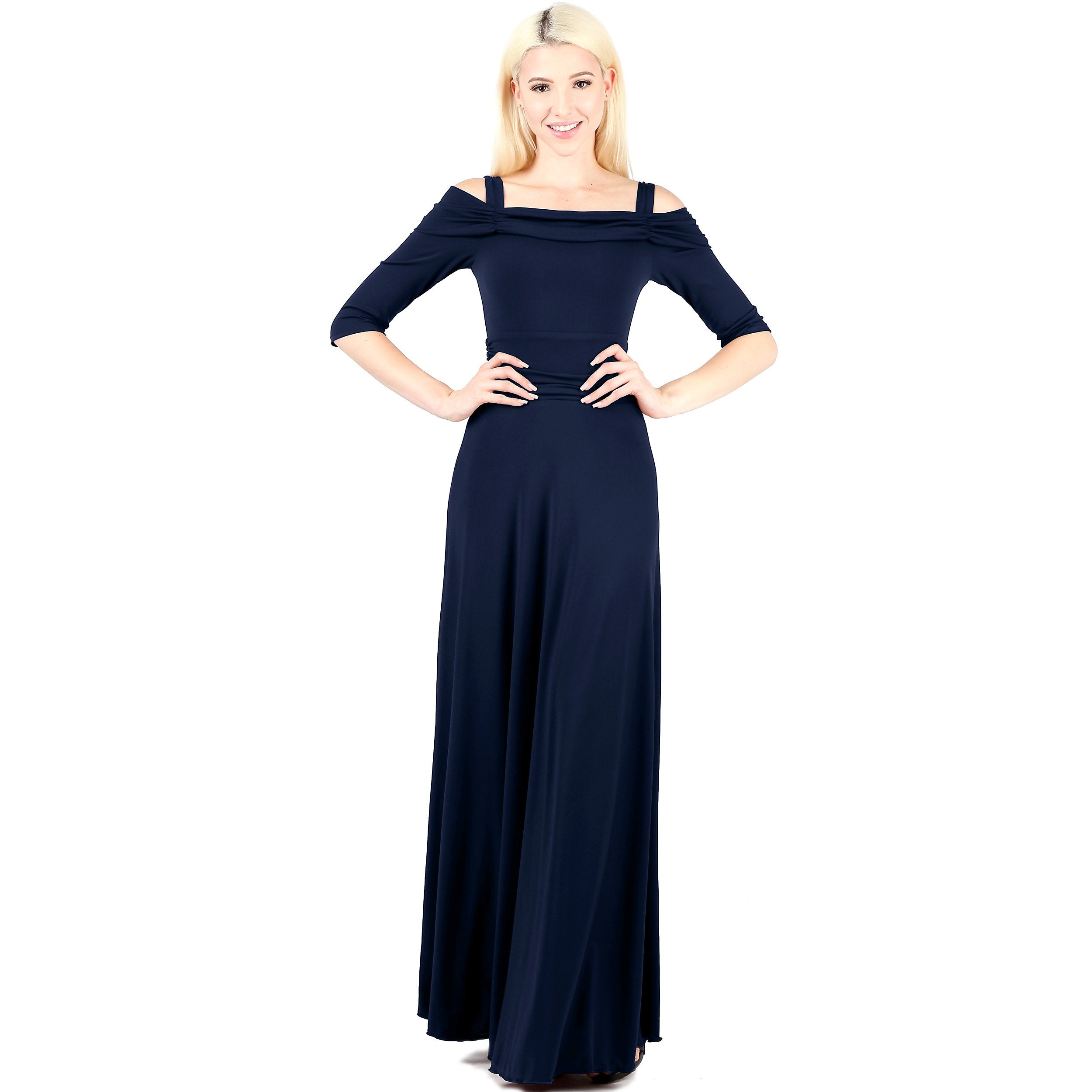 3/4 Sleeve Slip On Lined Off Shoulder Formal Dress