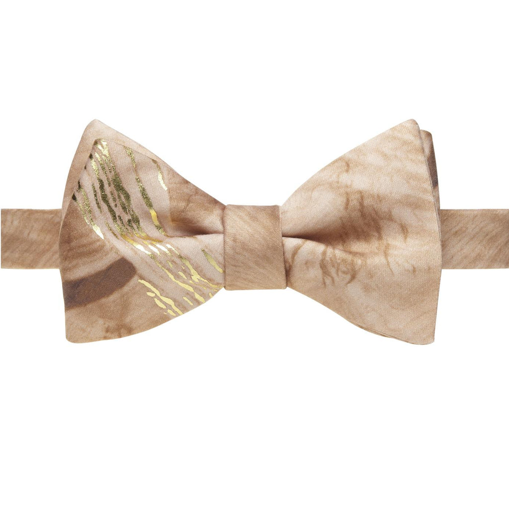 """Trompe L'Oeil"" Natural Brown & Gold Wood Grain Bow Tie"