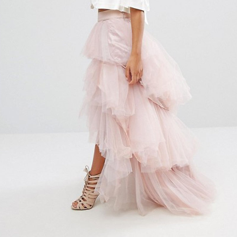 Tiered Tulle High Low Skirt