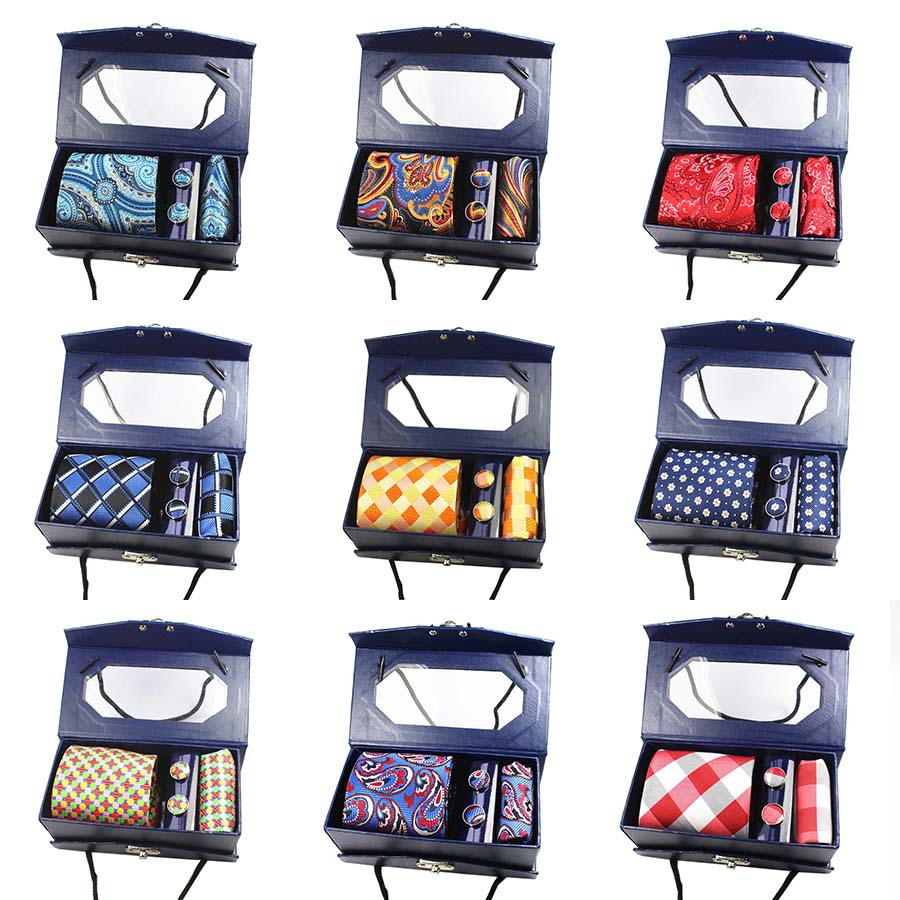 3 piece Men's Silk Tie Set with Cufflinks- Many Color Options!