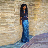 Blue Sequin Long Skirt