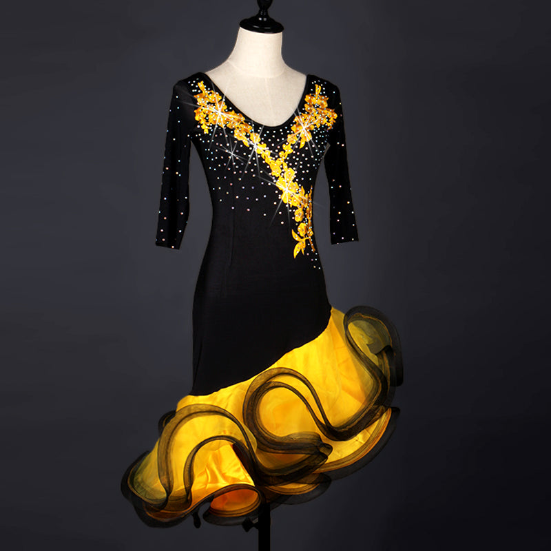 c21a9f891 3/4 Sleeve Black and Gold Rhythm Latin Dance Dress – Exquisite ...