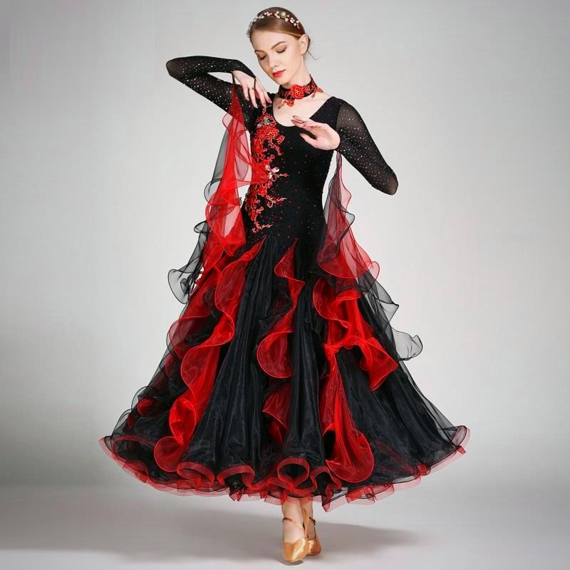 Striking Red & Black Ballroom Dance Dress