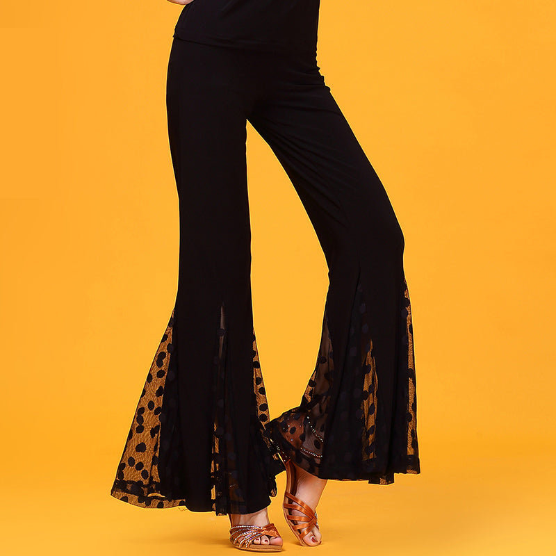 Flared Mesh Inset Dance Pants