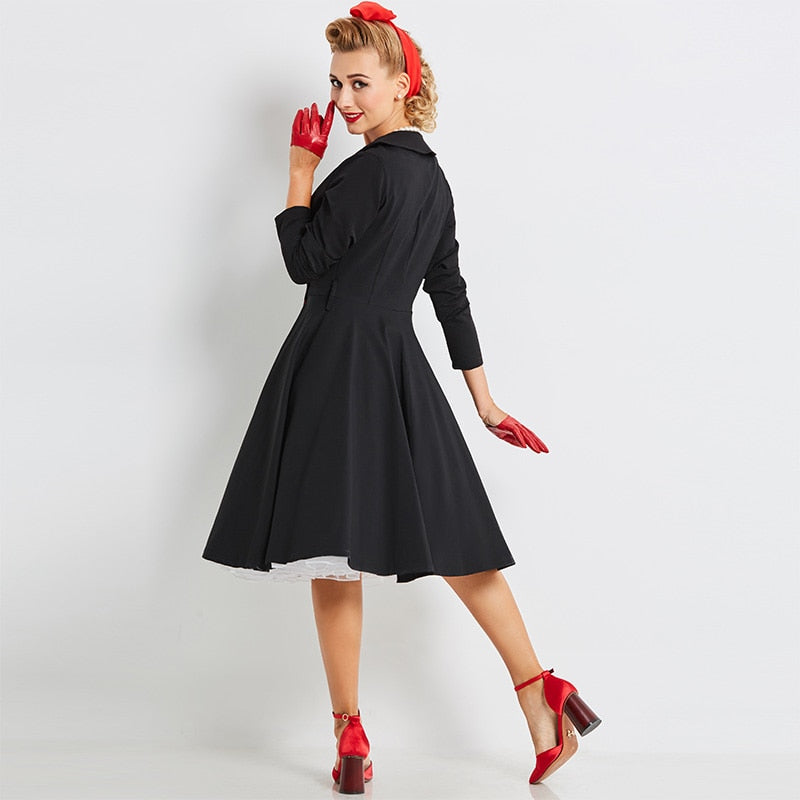 Double Breasted Vintage Style Black Swing Dress