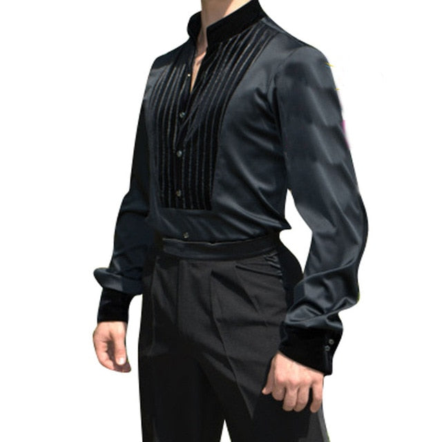 Men's Mandarin Collar Ballroom Dance Shirt