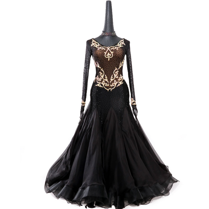 Covered in Rhinestones Brown & Black American Smooth Ballroom Dance Dress