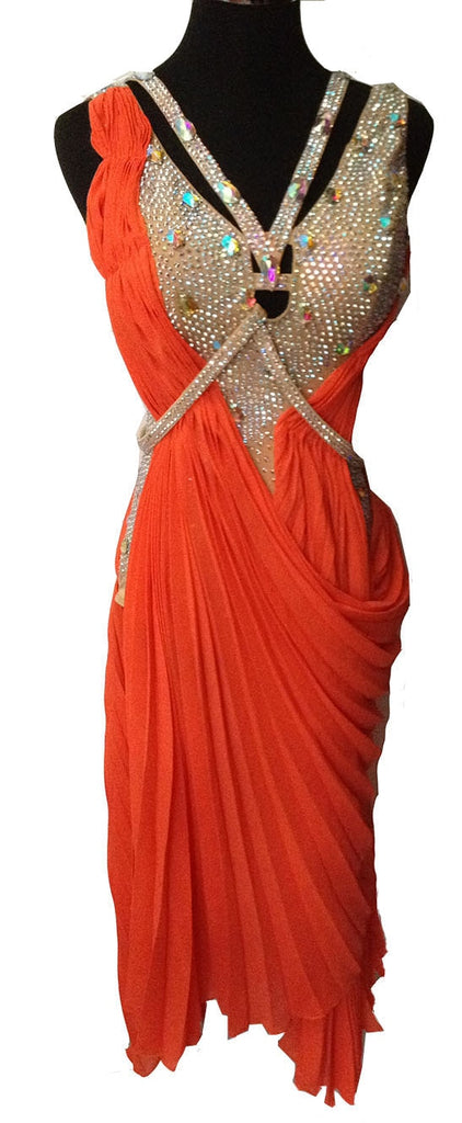 Soft Accordian Drape Rhinestone Detail Rhythm or Latin Ballroom Dance Dress