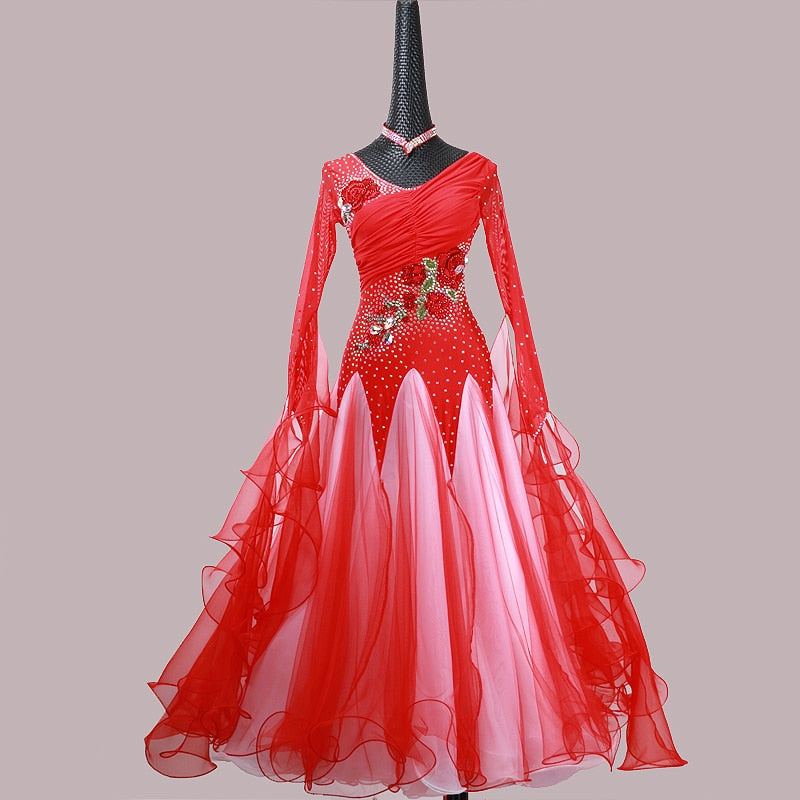 Regal Red and White International Standard Ballroom Dance Dress