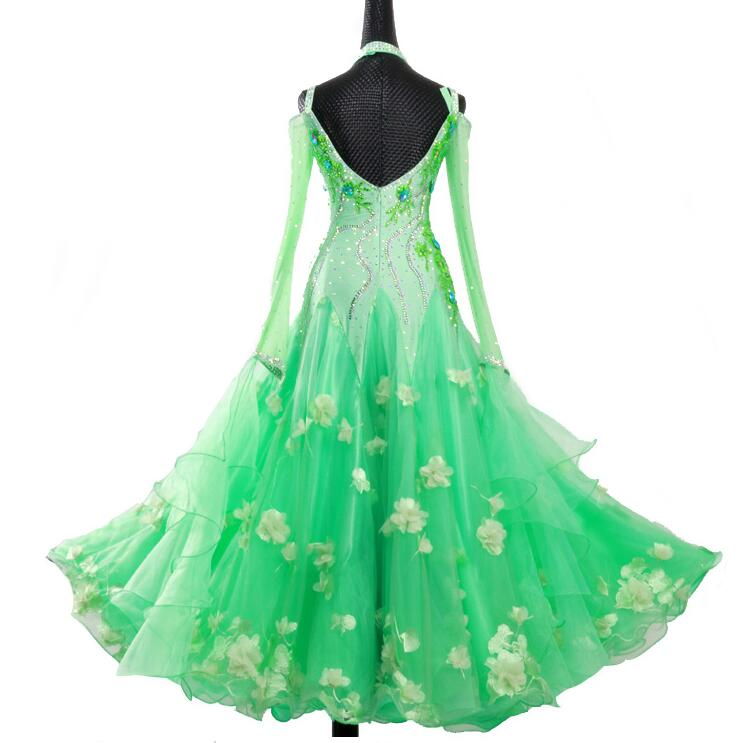 Spring Green w/ Floral Accents International Standard Ballroom Dance Dress