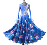 Blissful Blue Floral International Standard Ballroom Dance Dress