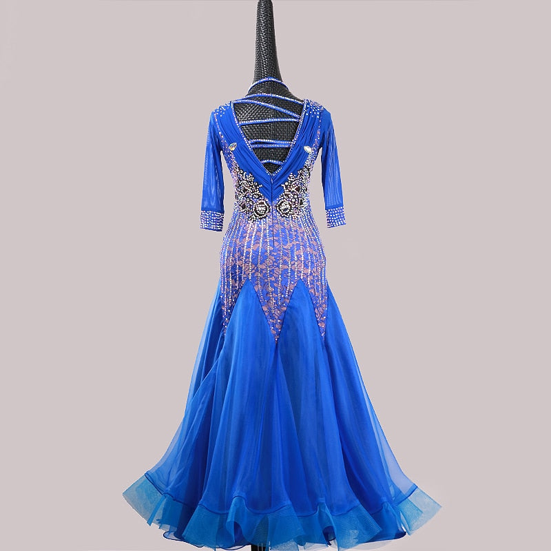3/4 Sleeve Rhinestone Detail American Smooth Ballroom Dance Dress