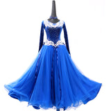 White Lace & Flowing Blue Ballroom Dance Dress
