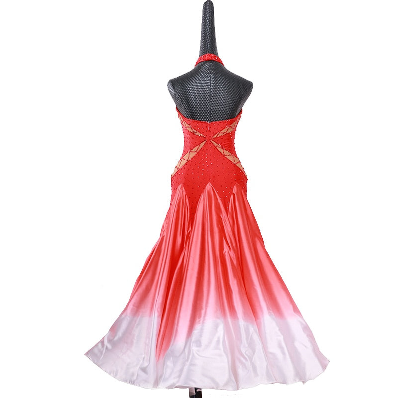 Radiant Red & White American Smooth Ballroom Dance Dress