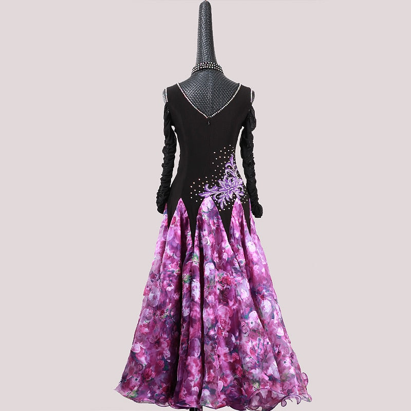 Feminine Flowers American Smooth Ballroom Dance Dress