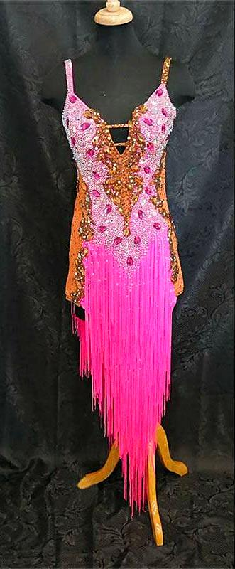 Pretty In Pink Sleeveless Fringe Rhythm or Latin Ballroom Dance Dress