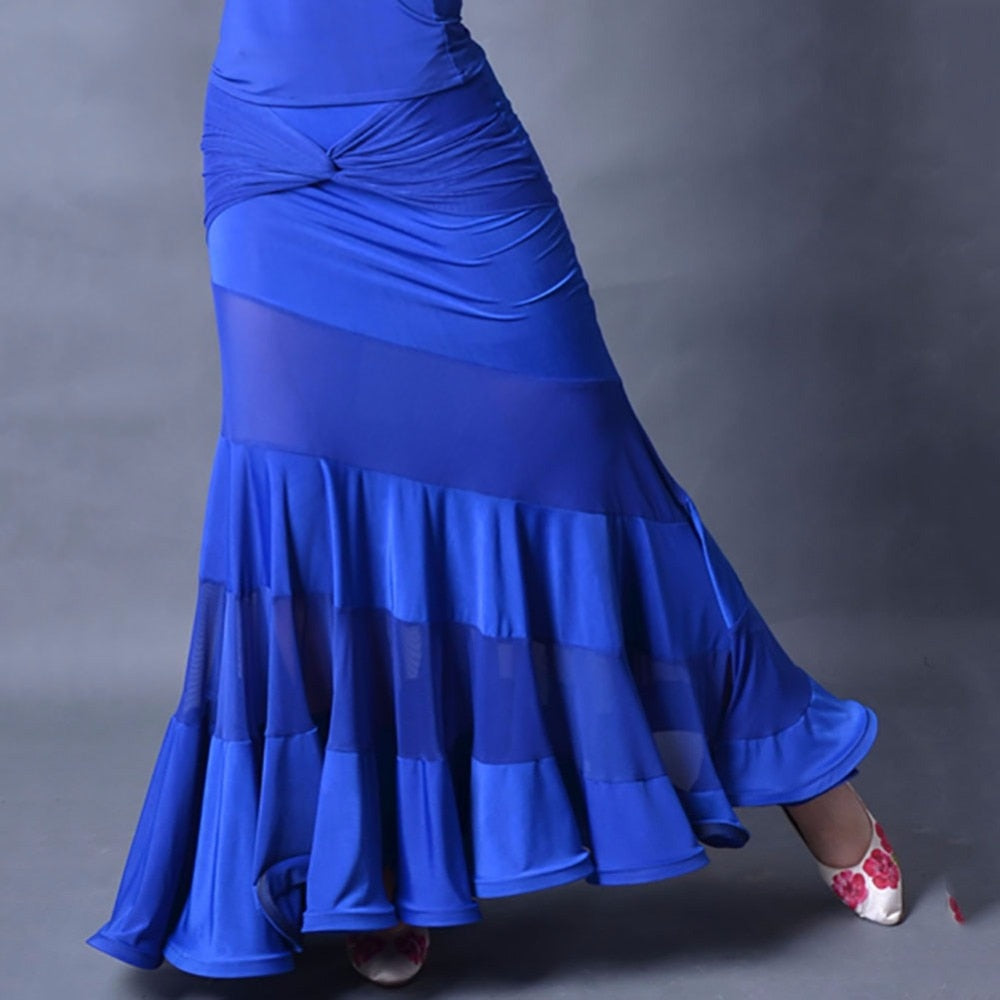 Blue Fitted & Flowy Mesh Accent Ballroom Dance Skirt