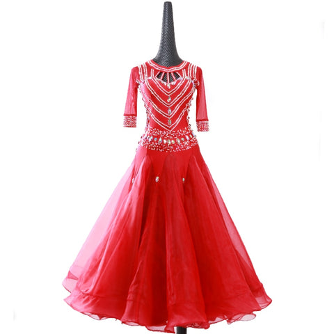 3/4 Sleeve Vibrant Red Ballroom Dance Dress