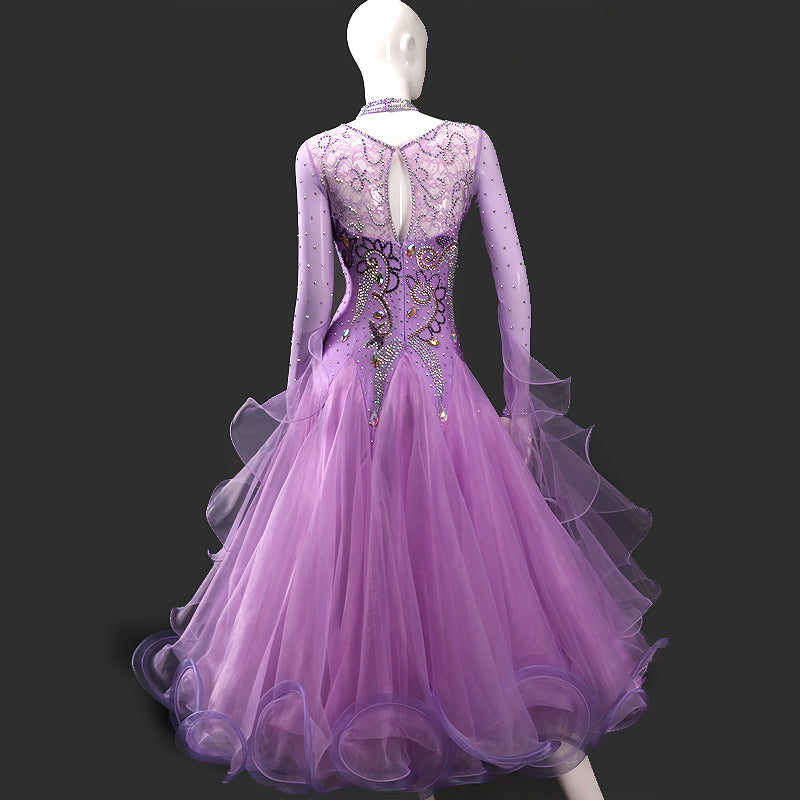 Sweetheart Mesh Neckline International Standard Ballroom Dance Dress