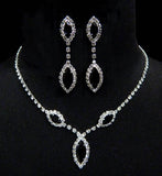 Crystal Rhinestone Navette Drop Necklace w/ Earrings Set- Jet Black