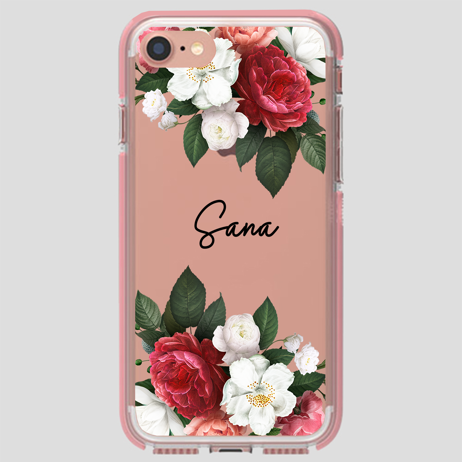Red Floral Name Case